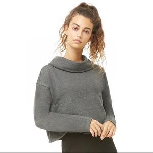Active cowl neck pullover sweater